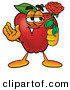 Clip Art of a Cute Red Apple Character Mascot Holding a Single Red Rose for His Love on Valentines Day by Toons4Biz