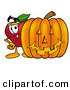 Clip Art of a Cute Red Apple Character Mascot Standing with a Carved Jackolantern Halloween Pumpkin by Toons4Biz