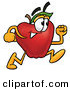 Clip Art of a Determined Red Apple Character Mascot Running in a Hurry by Toons4Biz