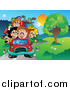 Clip Art of a Family Driving on a Country Road by Visekart