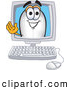 Clip Art of a Friendly Blimp Mascot Cartoon Character Waving from a Computer Screen by Toons4Biz