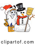 Clip Art of a Friendly Blimp Mascot Cartoon Character with a Snowman by Toons4Biz