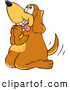 Clip Art of a Friendly Brown Dog Mascot Cartoon Character Begging for a Walk or Treats by Toons4Biz