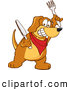 Clip Art of a Friendly Brown Dog Mascot Cartoon Character Holding a Knife and Fork, Extremely Hungry by Toons4Biz