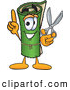 Clip Art of a Friendly Green Carpet Mascot Cartoon Character Holding Scissors by Toons4Biz