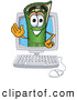 Clip Art of a Friendly Green Carpet Mascot Cartoon Character in a Computer Screen by Toons4Biz