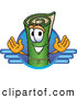 Clip Art of a Friendly Green Carpet Mascot Cartoon Character Logo with Blue Lines by Toons4Biz