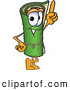 Clip Art of a Friendly Green Carpet Mascot Cartoon Character Pointing Upwards by Toons4Biz