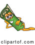 Clip Art of a Friendly Green Carpet Mascot Cartoon Character Reclined and Resting His Face on His Hand by Toons4Biz