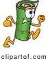 Clip Art of a Friendly Green Carpet Mascot Cartoon Character Running by Toons4Biz