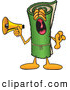 Clip Art of a Friendly Green Carpet Mascot Cartoon Character Screaming into a Megaphone by Toons4Biz