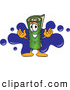 Clip Art of a Friendly Green Carpet Mascot Cartoon Character with a Blue Splatter by Toons4Biz