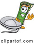 Clip Art of a Friendly Green Carpet Mascot Cartoon Character with a Computer Mouse by Toons4Biz