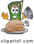 Clip Art of a Friendly Green Carpet Mascot Cartoon Character with a Thanksgiving Turkey on a Platter by Toons4Biz