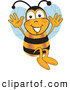 Clip Art of a Friendly or Outgoing Bee Mascot Cartoon Character Jumping with His Arms up by Toons4Biz