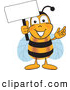 Clip Art of a Grinning Bee Mascot Cartoon Character Holding a Blank White Sign by Toons4Biz
