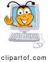 Clip Art of a Grinning Bee Mascot Cartoon Character in a Computer Monitor, Waving by Toons4Biz
