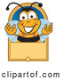 Clip Art of a Grinning Bee Mascot Cartoon Character on a Blank Tan Label by Toons4Biz