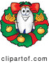 Clip Art of a Grinning Blimp in a Christmas Wreath by Toons4Biz
