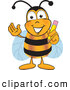 Clip Art of a Happy Bee Mascot Cartoon Character Holding a Pencil by Toons4Biz