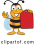 Clip Art of a Happy Bee Mascot Cartoon Character Holding a Red Clearance Sales Tag by Toons4Biz