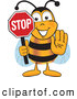 Clip Art of a Happy Bee Mascot Cartoon Character Holding His Hand out and a Red Stop Sign by Toons4Biz