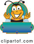 Clip Art of a Happy Bee Mascot Cartoon Character on a Blank Blue and Green Label by Toons4Biz