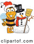 Clip Art of a Happy Bee Mascot Cartoon Character with a Snowman on Christmas by Toons4Biz
