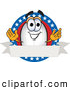 Clip Art of a Happy Blimp Mascot Cartoon Character Logo with Stars and a Blank Ribbon by Toons4Biz