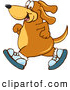 Clip Art of a Happy Brown Dog Mascot Cartoon Character Wearing Tennis Shoes and Taking a Walk by Toons4Biz