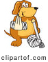 Clip Art of a Happy Brown Dog Mascot Cartoon Character with an Arm and Leg Bandaged up by Toons4Biz