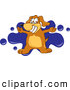 Clip Art of a Happy Brown Dog Mascot Cartoon Character with Open Arms over a Blue Splatter by Toons4Biz