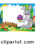 Clip Art of a Happy Easter Rabbit Holding an Easter Egg on a Frame by Visekart