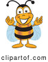 Clip Art of a Honey Bee Mascot Cartoon Character Greeting with Open Arms by Toons4Biz