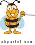 Clip Art of a Honey Bee Mascot Cartoon Character Holding a Pointer Stick by Toons4Biz