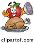 Clip Art of a Hungry Red Apple Character Mascot with a Cooked Thanksgiving Turkey on a Platter by Toons4Biz