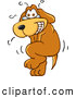 Clip Art of a Nervous and Sweating Brown Dog Mascot Cartoon Character Trying to Hold It In, but Has to Go Pee by Toons4Biz