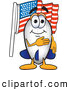 Clip Art of a Patriotic Blimp Mascot Cartoon Character Pledging Allegiance to the American Flag by Toons4Biz