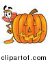 Clip Art of a Plunger Character with a Halloween Pumpkin by Toons4Biz