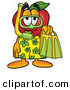 Clip Art of a Red Apple Character Mascot in Green and Yellow Snorkel Gear, Ready to Go Swimming by Toons4Biz
