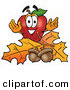 Clip Art of a Red Strawberry Character Mascot with Acorns and Fall Leaves in Autumn by Toons4Biz