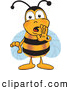 Clip Art of a Secretive Bee Mascot Cartoon Character Whispering and Gossiping by Toons4Biz