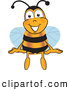 Clip Art of a Smiling Bee Mascot Cartoon Character Sitting by Toons4Biz