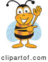 Clip Art of a Smiling Bee Mascot Cartoon Character Waving and Pointing to the Right by Toons4Biz
