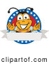 Clip Art of a Smiling Bee Mascot Cartoon Character with Stars on a Blank Label by Toons4Biz