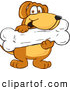 Clip Art of a Smiling Brown Dog Mascot Cartoon Character Holding a Big Doggy Bone Treat by Toons4Biz
