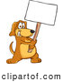 Clip Art of a Smiling Brown Dog Mascot Cartoon Character Holding a Blank White Sign by Toons4Biz
