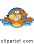 Clip Art of a Smiling Brown Dog Mascot Cartoon Character Logo with Open Arms by Toons4Biz