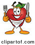 Clip Art of a Smiling Hungry Red Apple Character Mascot Wearing a Napkin, Holding a Fork and Knife by Toons4Biz