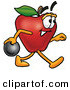 Clip Art of a Smiling Red Apple Character Mascot Holding a Bowling Ball by Toons4Biz